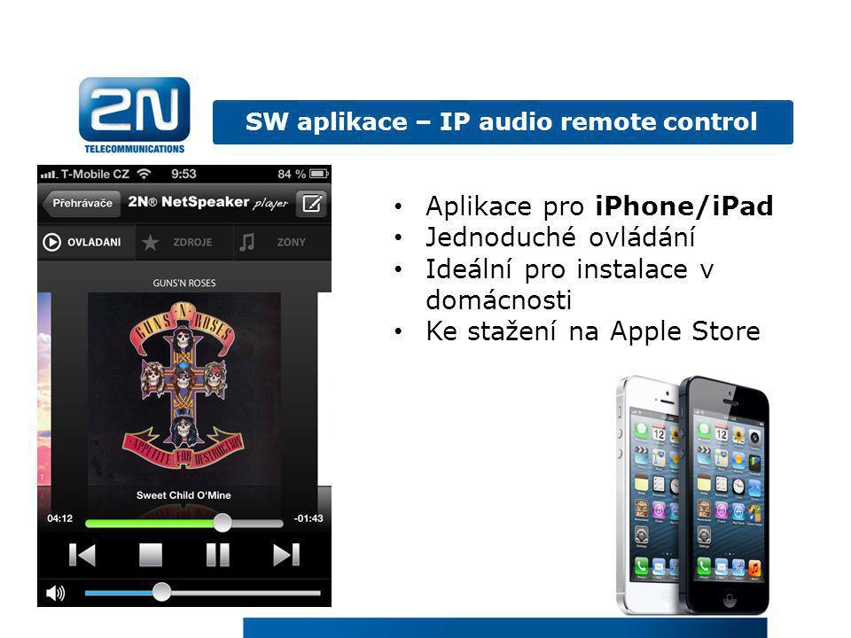 SW aplikace – IP audio remote control