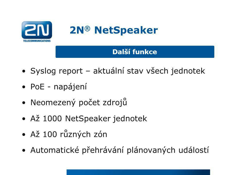 2N® NetSpeaker Syslog report – aktuální stav všech jednotek
