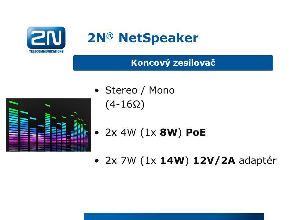2N® NetSpeaker Stereo / Mono (4-16Ω) 2x 4W (1x 8W) PoE