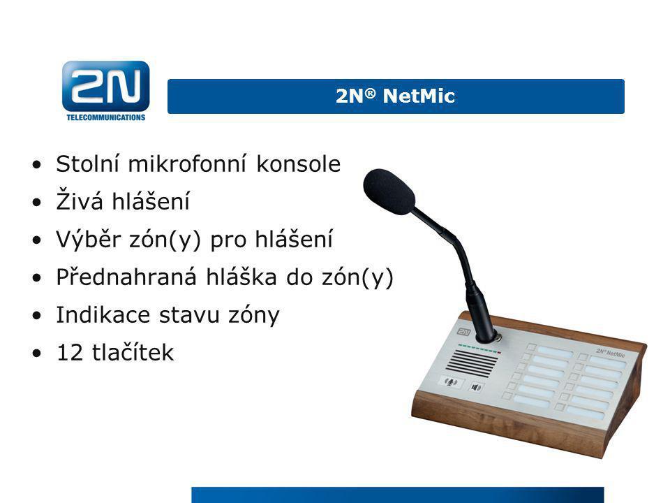 Stolní mikrofonní konsole Živá hlášení Výběr zón(y) pro hlášení