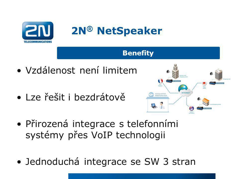 2N® NetSpeaker Vzdálenost není limitem Lze řešit i bezdrátově