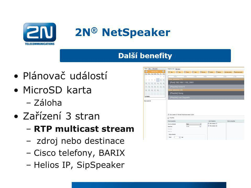 2N® NetSpeaker Plánovač událostí MicroSD karta Zařízení 3 stran Záloha