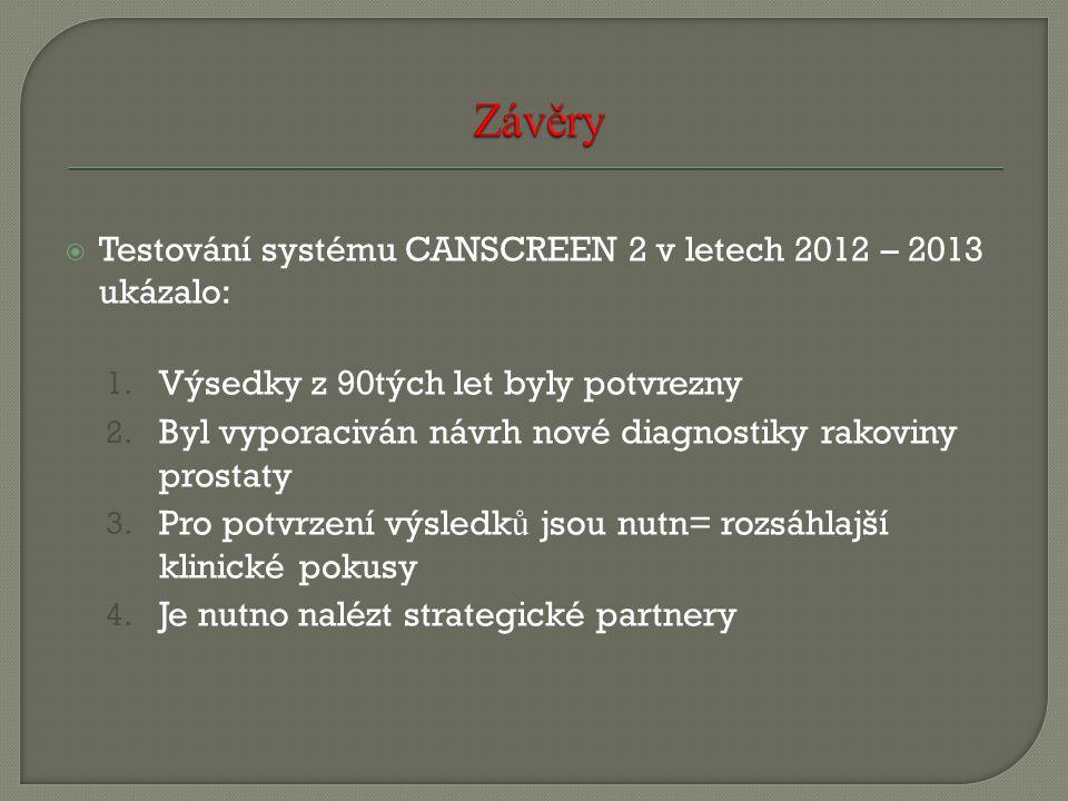 Závěry Testování systému CANSCREEN 2 v letech 2012 – 2013 ukázalo: