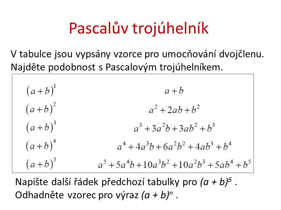 Pascalův trojúhelník V tabulce jsou vypsány vzorce pro umocňování dvojčlenu. Najděte podobnost s Pascalovým trojúhelníkem.