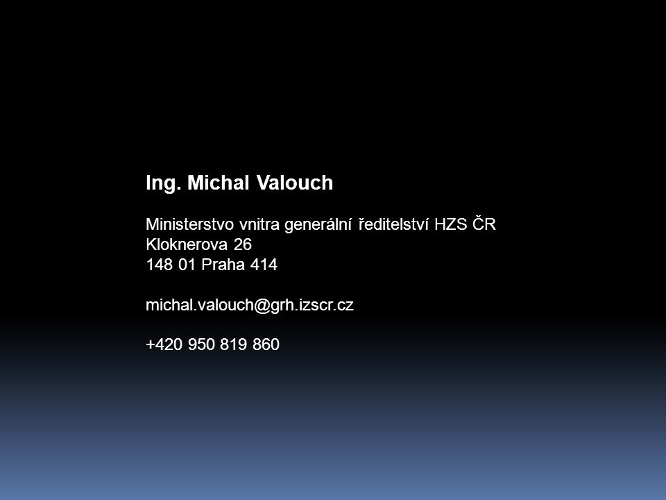 Ing. Michal Valouch Ministerstvo vnitra generální ředitelství HZS ČR