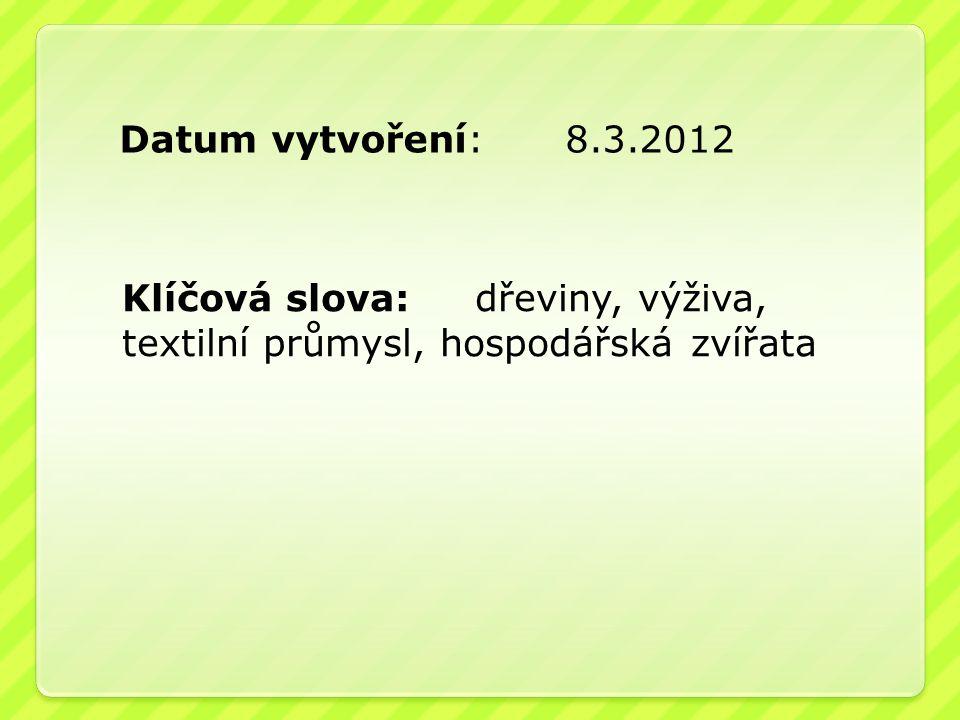 Datum vytvoření: 8.3.2012 Klíčová slova: dřeviny, výživa, textilní průmysl, hospodářská zvířata.