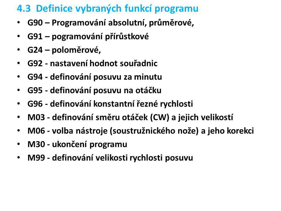4.3 Definice vybraných funkcí programu