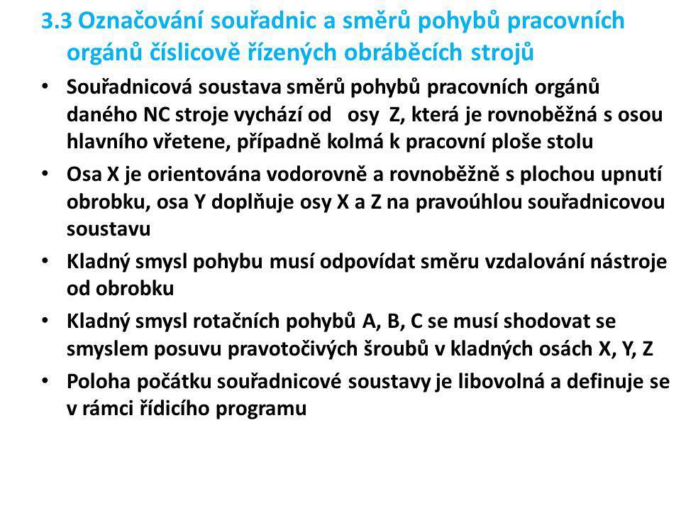 3.3 Označování souřadnic a směrů pohybů pracovních orgánů číslicově řízených obráběcích strojů