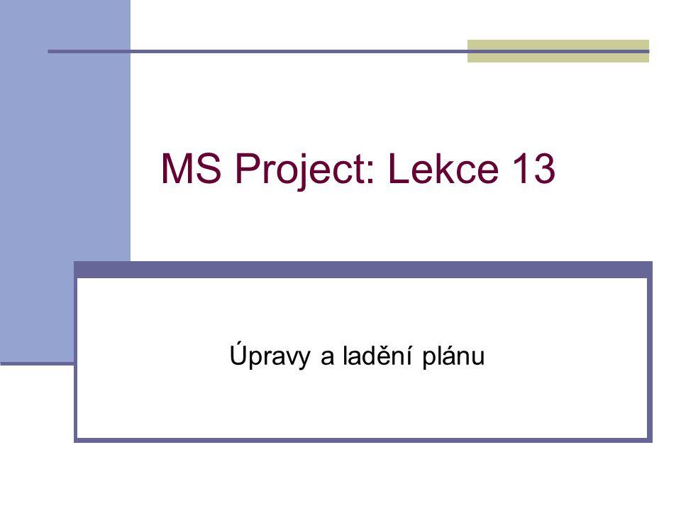 MS Project: Lekce 13 Úpravy a ladění plánu