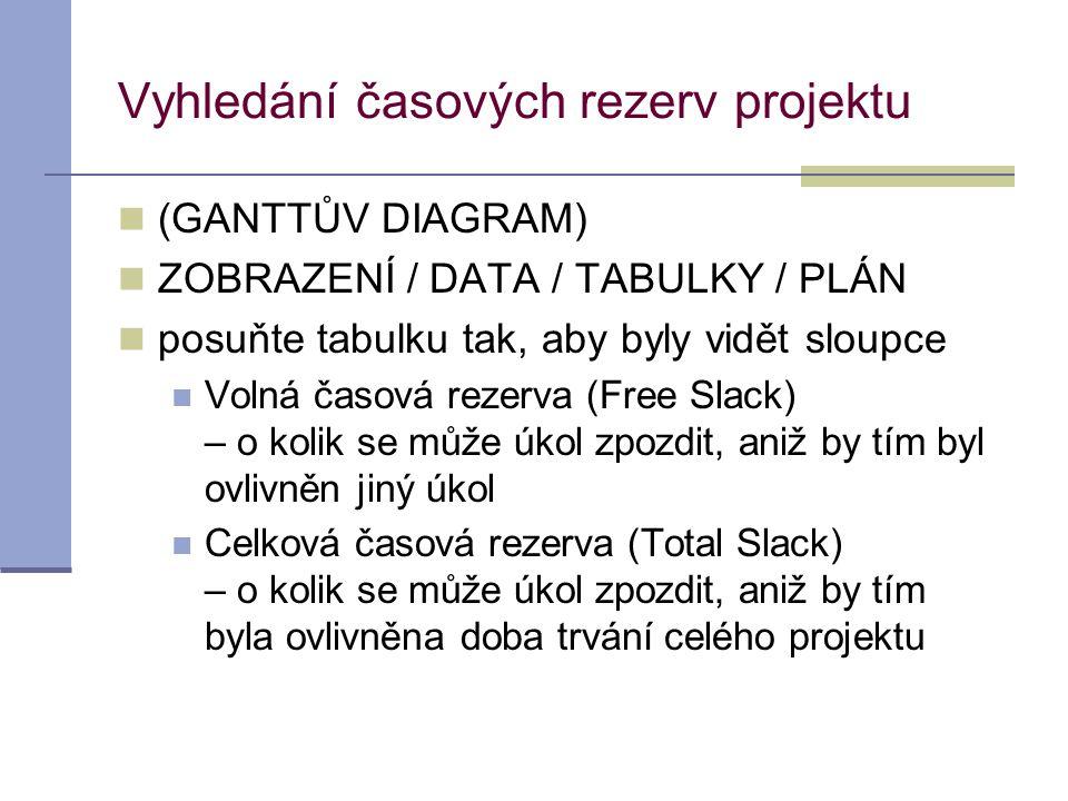 Vyhledání časových rezerv projektu