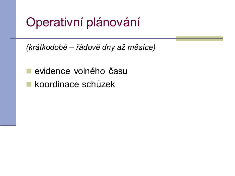 Operativní plánování evidence volného času koordinace schůzek