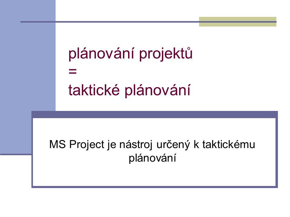 plánování projektů = taktické plánování