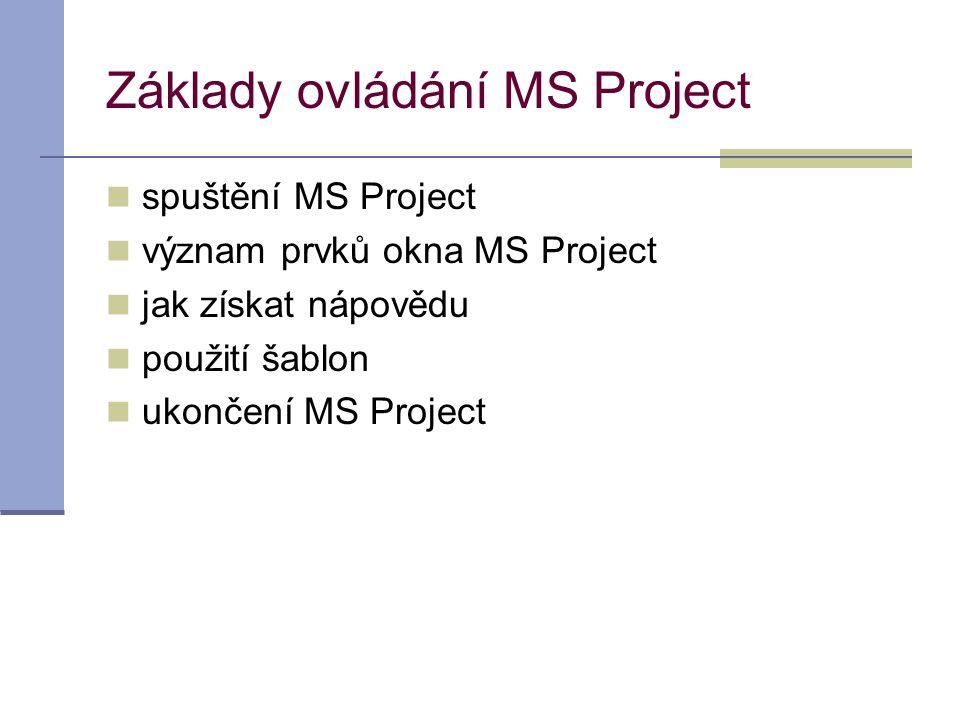 Základy ovládání MS Project
