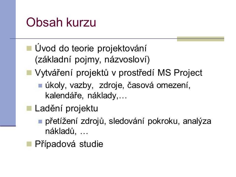Obsah kurzu Úvod do teorie projektování (základní pojmy, názvosloví)