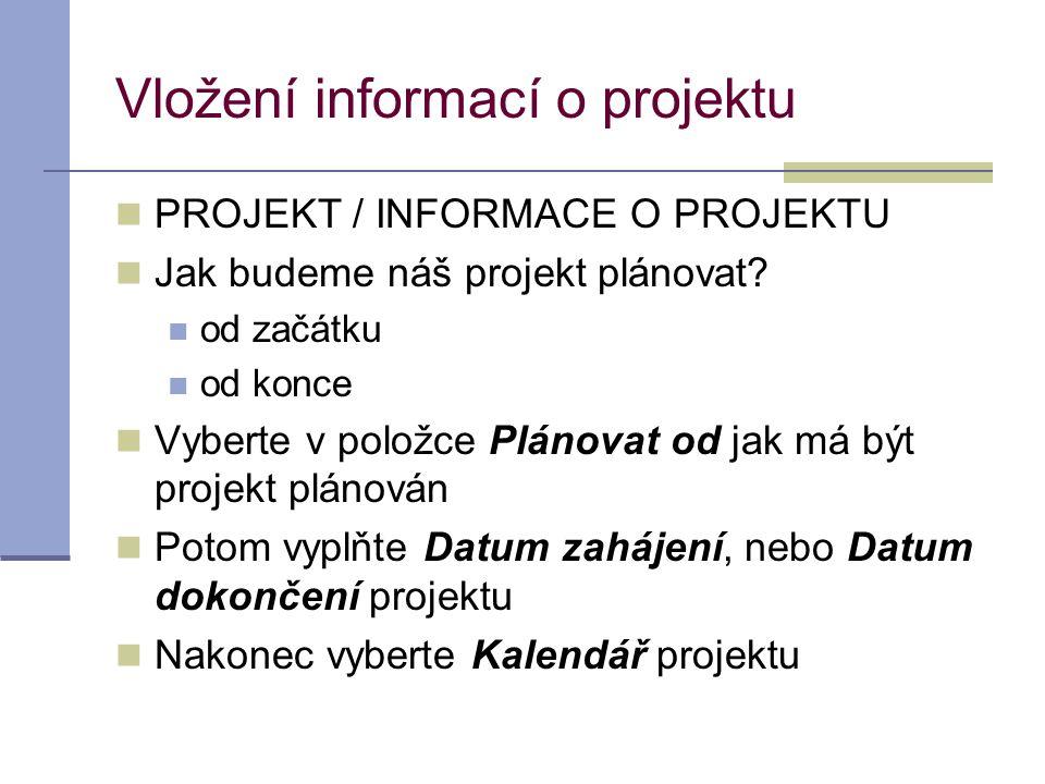 Vložení informací o projektu