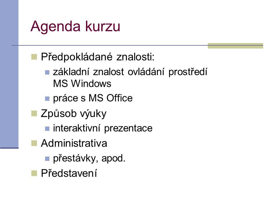 Agenda kurzu Předpokládané znalosti: Způsob výuky Administrativa