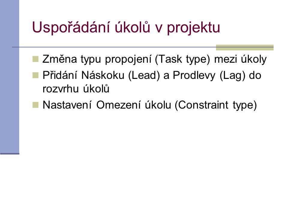 Uspořádání úkolů v projektu