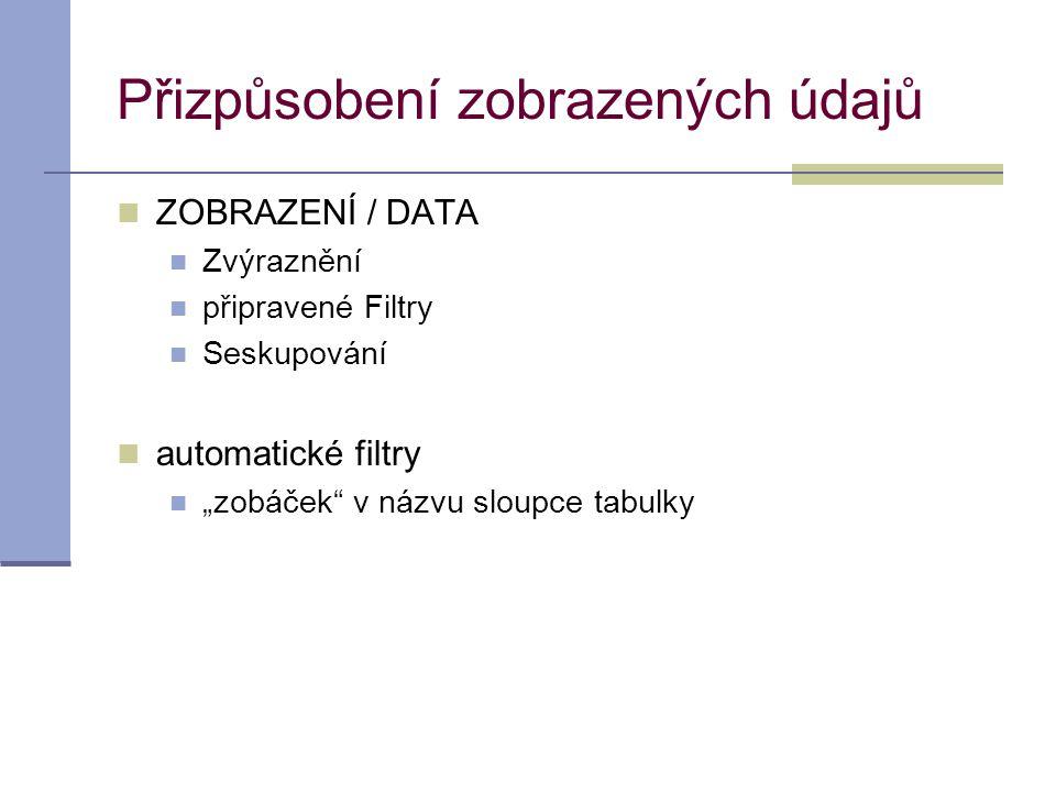 Přizpůsobení zobrazených údajů