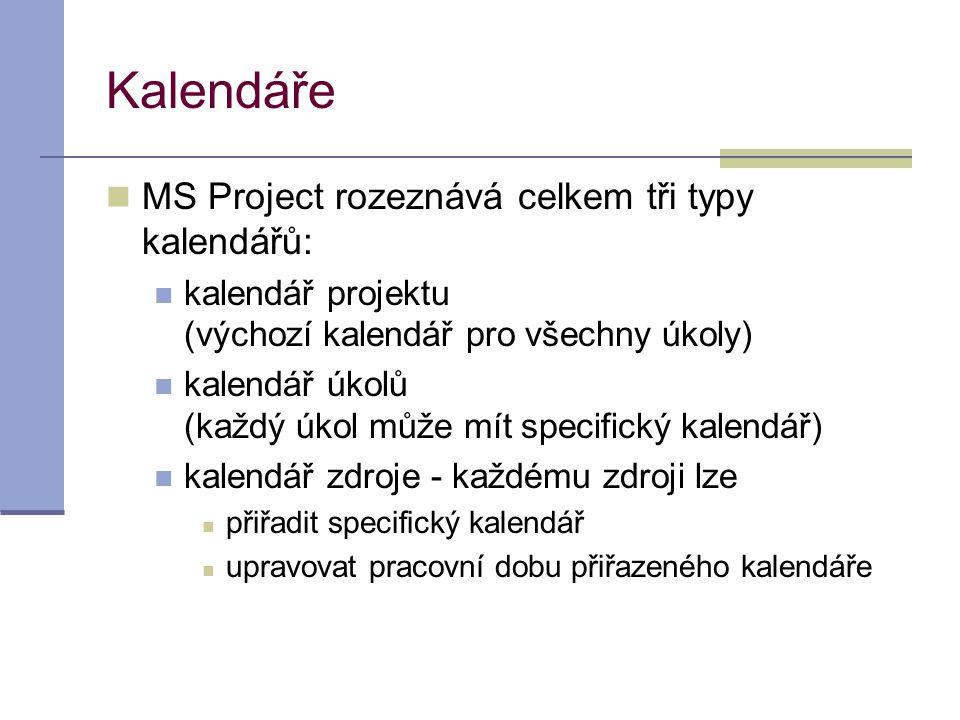 Kalendáře MS Project rozeznává celkem tři typy kalendářů: