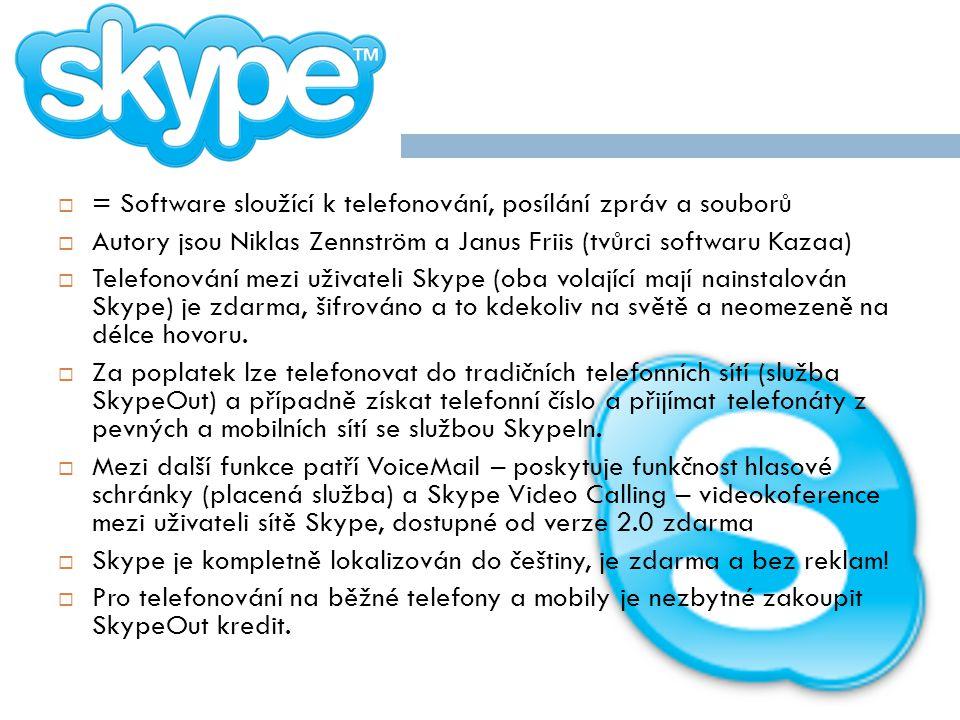 = Software sloužící k telefonování, posílání zpráv a souborů