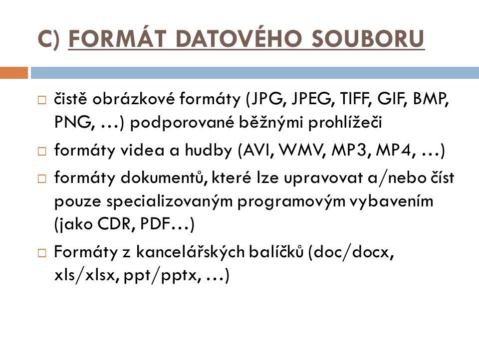 C) FORMÁT DATOVÉHO SOUBORU