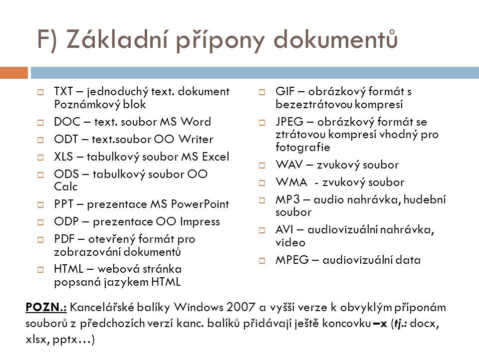F) Základní přípony dokumentů