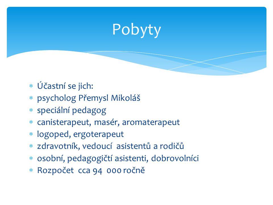 Pobyty Účastní se jich: psycholog Přemysl Mikoláš speciální pedagog