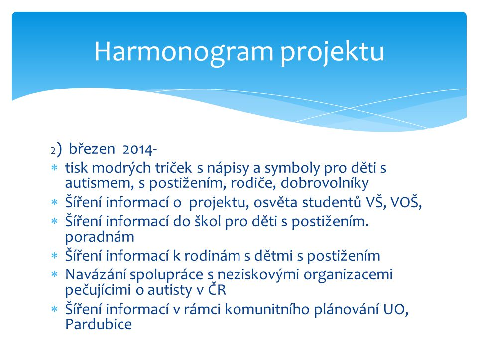 Harmonogram projektu 2) březen 2014- tisk modrých triček s nápisy a symboly pro děti s autismem, s postižením, rodiče, dobrovolníky.