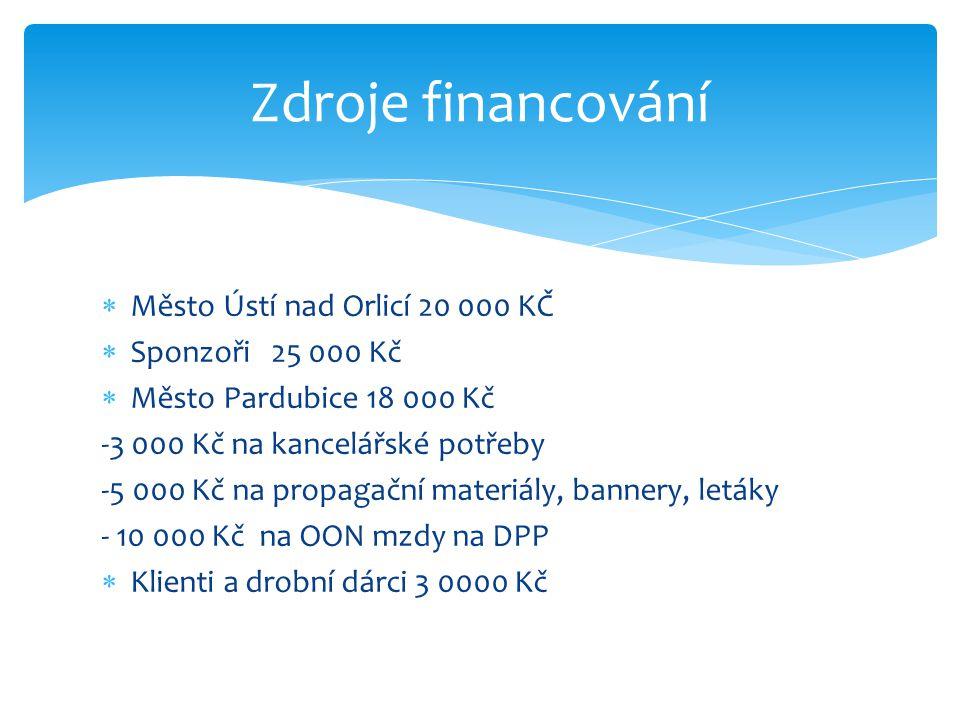Zdroje financování Město Ústí nad Orlicí 20 000 KČ Sponzoři 25 000 Kč