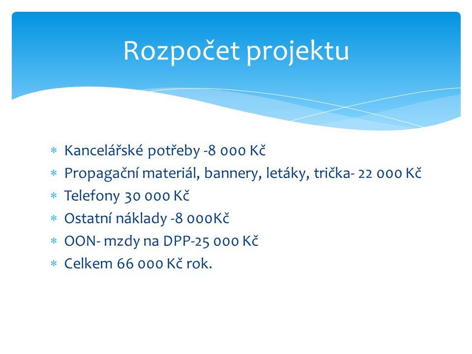 Rozpočet projektu Kancelářské potřeby -8 000 Kč