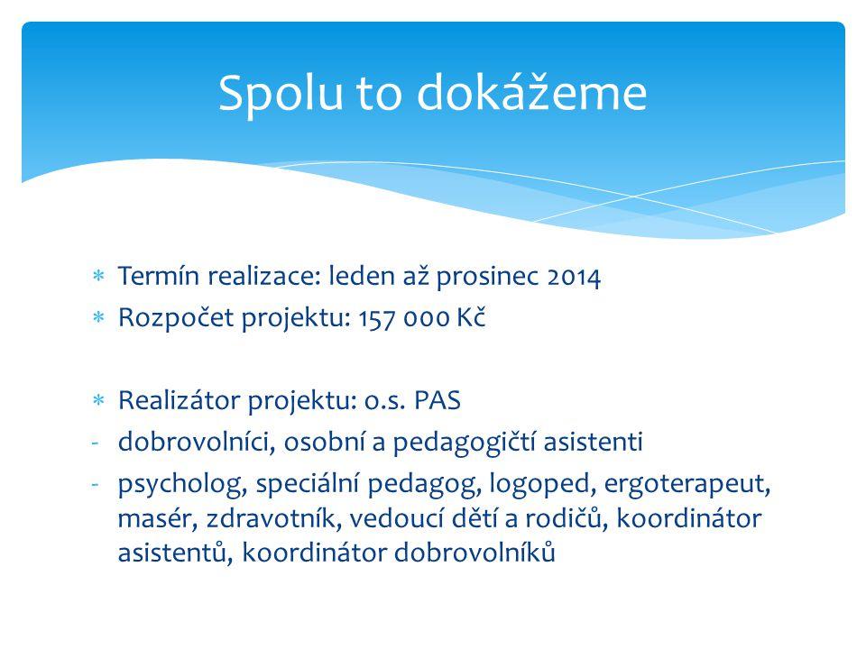 Spolu to dokážeme Termín realizace: leden až prosinec 2014