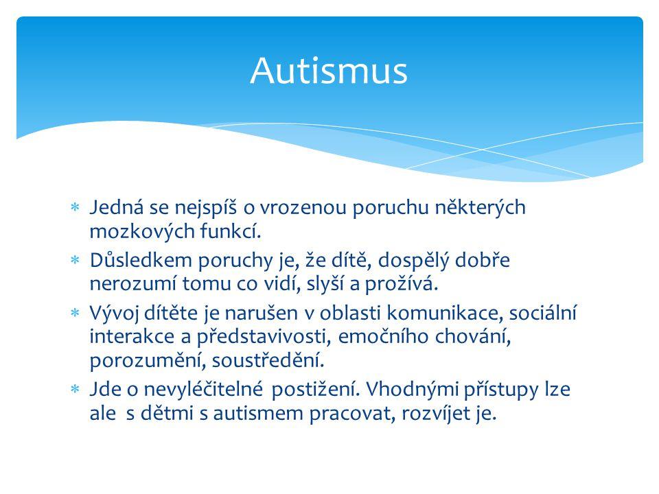 Autismus Jedná se nejspíš o vrozenou poruchu některých mozkových funkcí.