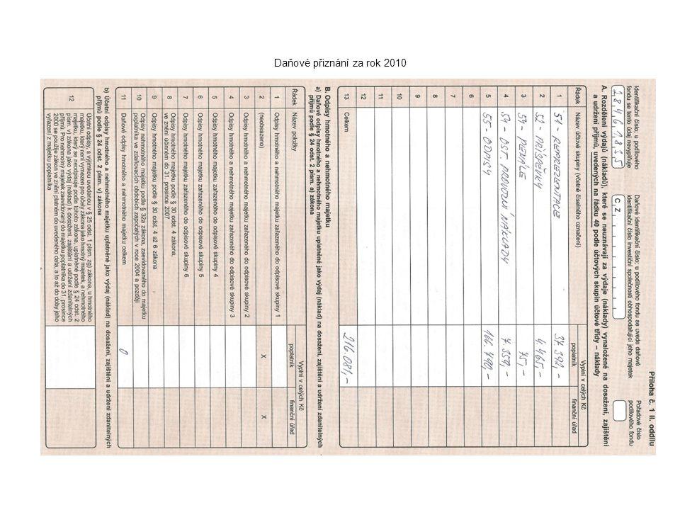 Daňové přiznání za rok 2010