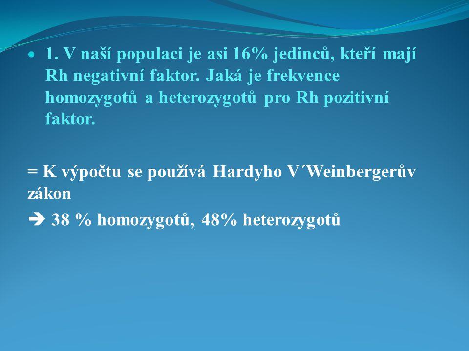1. V naší populaci je asi 16% jedinců, kteří mají Rh negativní faktor