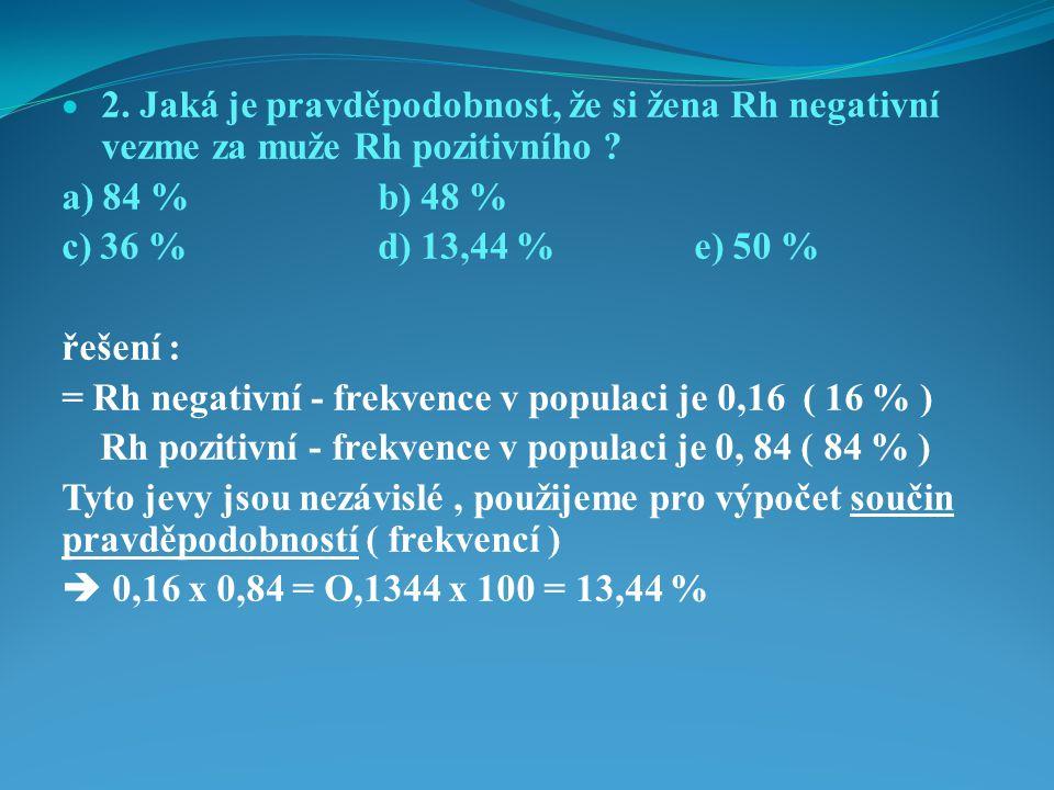 2. Jaká je pravděpodobnost, že si žena Rh negativní vezme za muže Rh pozitivního