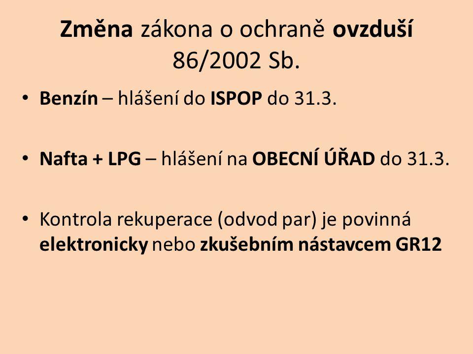 Změna zákona o ochraně ovzduší 86/2002 Sb.