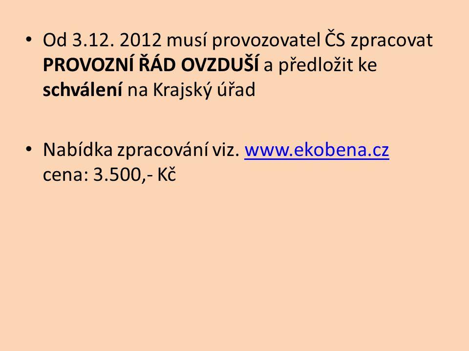 Od 3.12. 2012 musí provozovatel ČS zpracovat PROVOZNÍ ŘÁD OVZDUŠÍ a předložit ke schválení na Krajský úřad