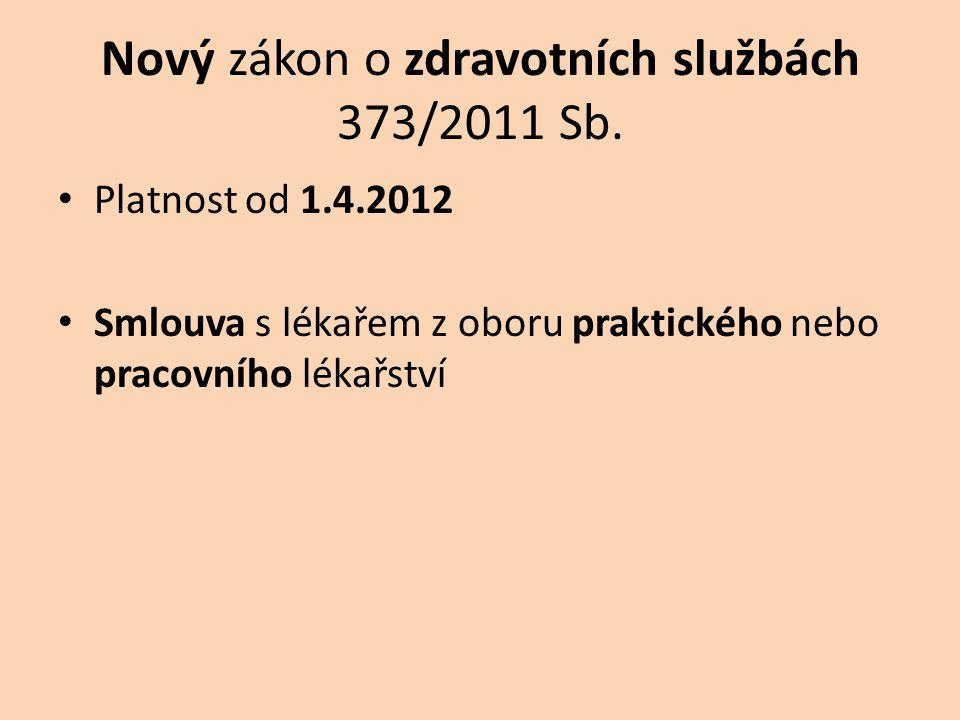 Nový zákon o zdravotních službách 373/2011 Sb.