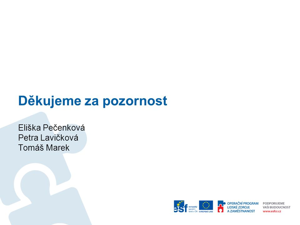Děkujeme za pozornost Eliška Pečenková Petra Lavičková Tomáš Marek