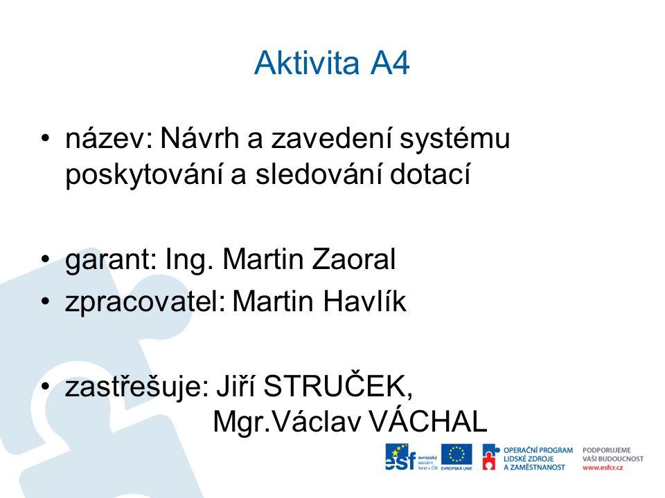 Aktivita A4 název: Návrh a zavedení systému poskytování a sledování dotací. garant: Ing. Martin Zaoral.