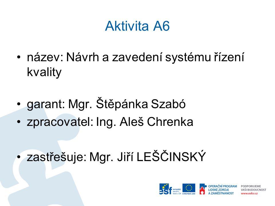 Aktivita A6 název: Návrh a zavedení systému řízení kvality