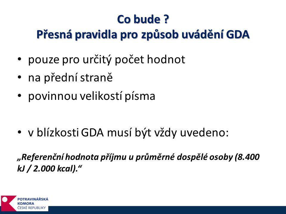 Co bude Přesná pravidla pro způsob uvádění GDA