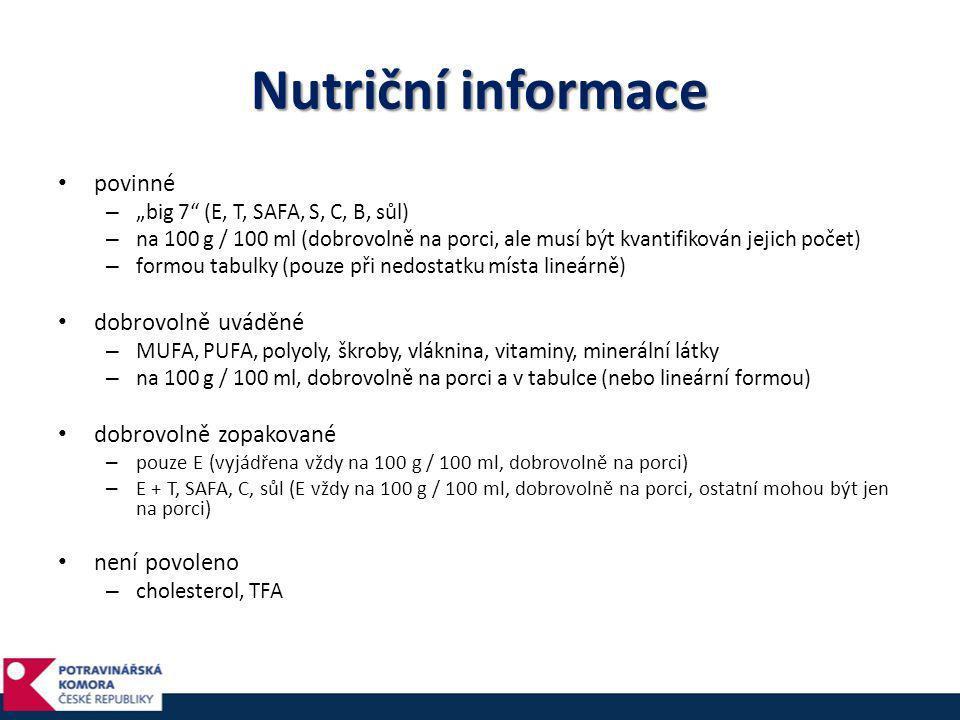 Nutriční informace povinné dobrovolně uváděné dobrovolně zopakované