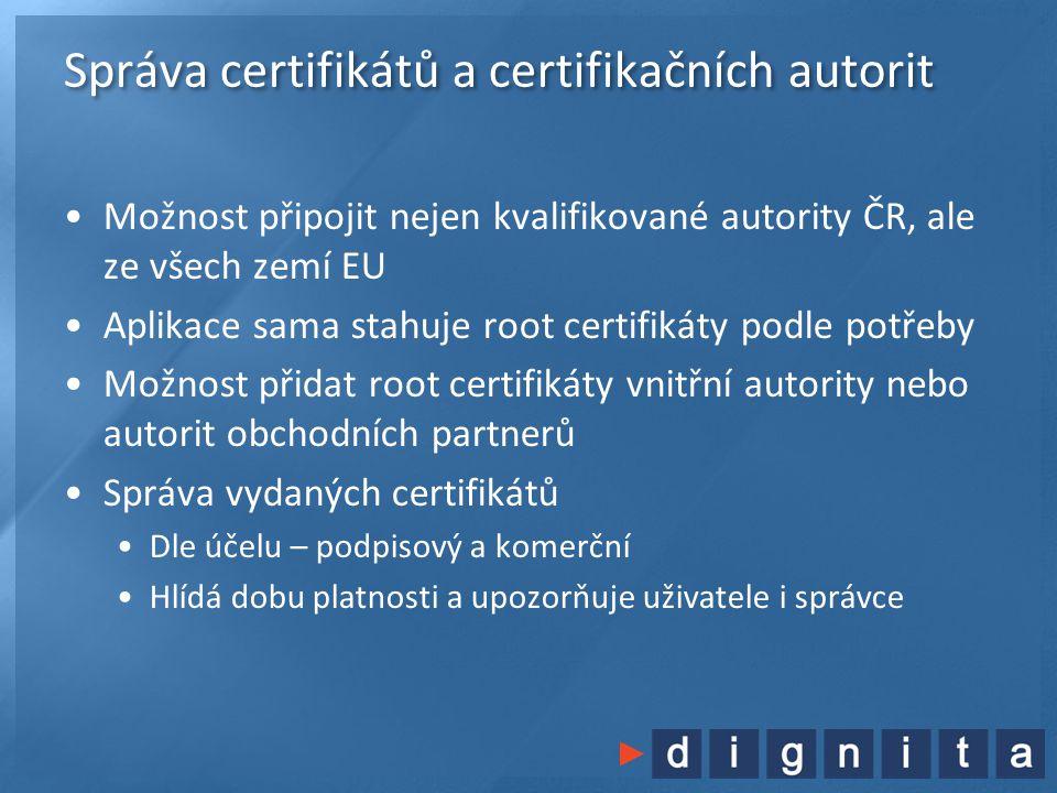 Správa certifikátů a certifikačních autorit