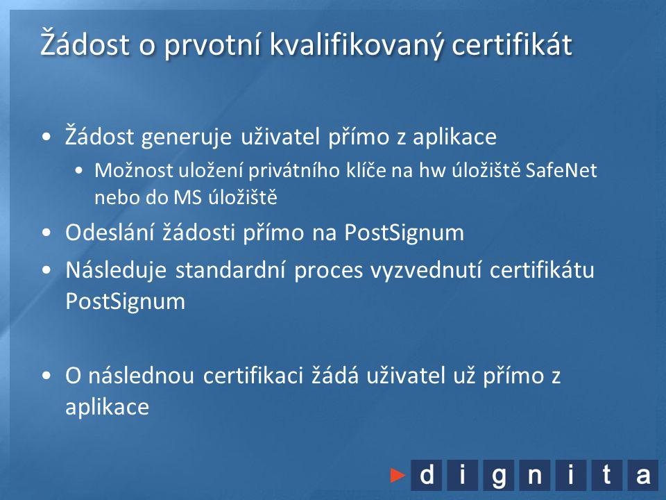 Žádost o prvotní kvalifikovaný certifikát