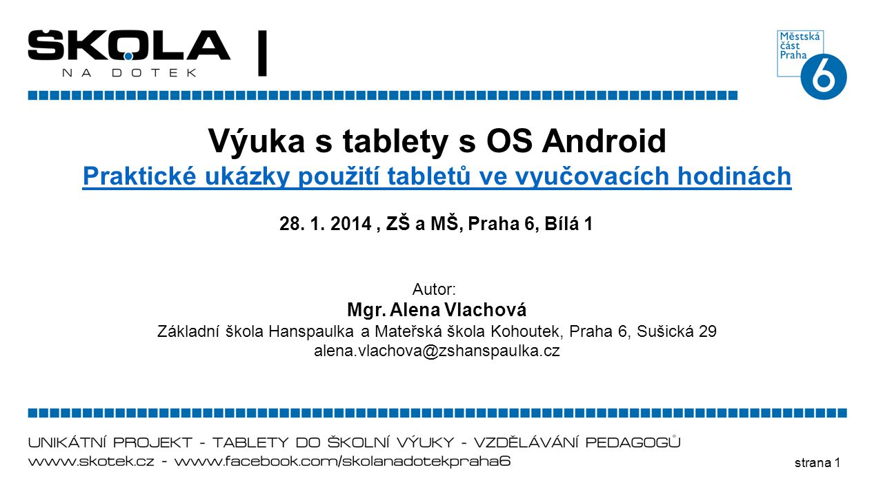 Výuka s tablety s OS Android