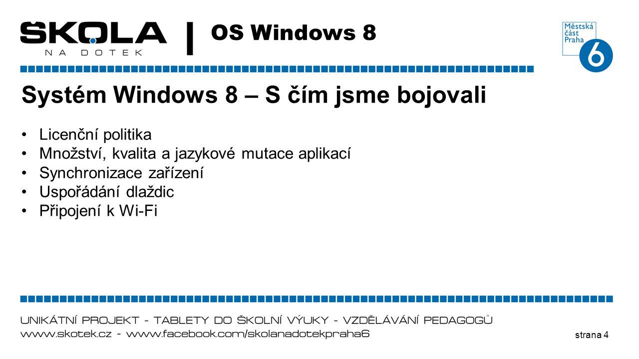 Systém Windows 8 – S čím jsme bojovali