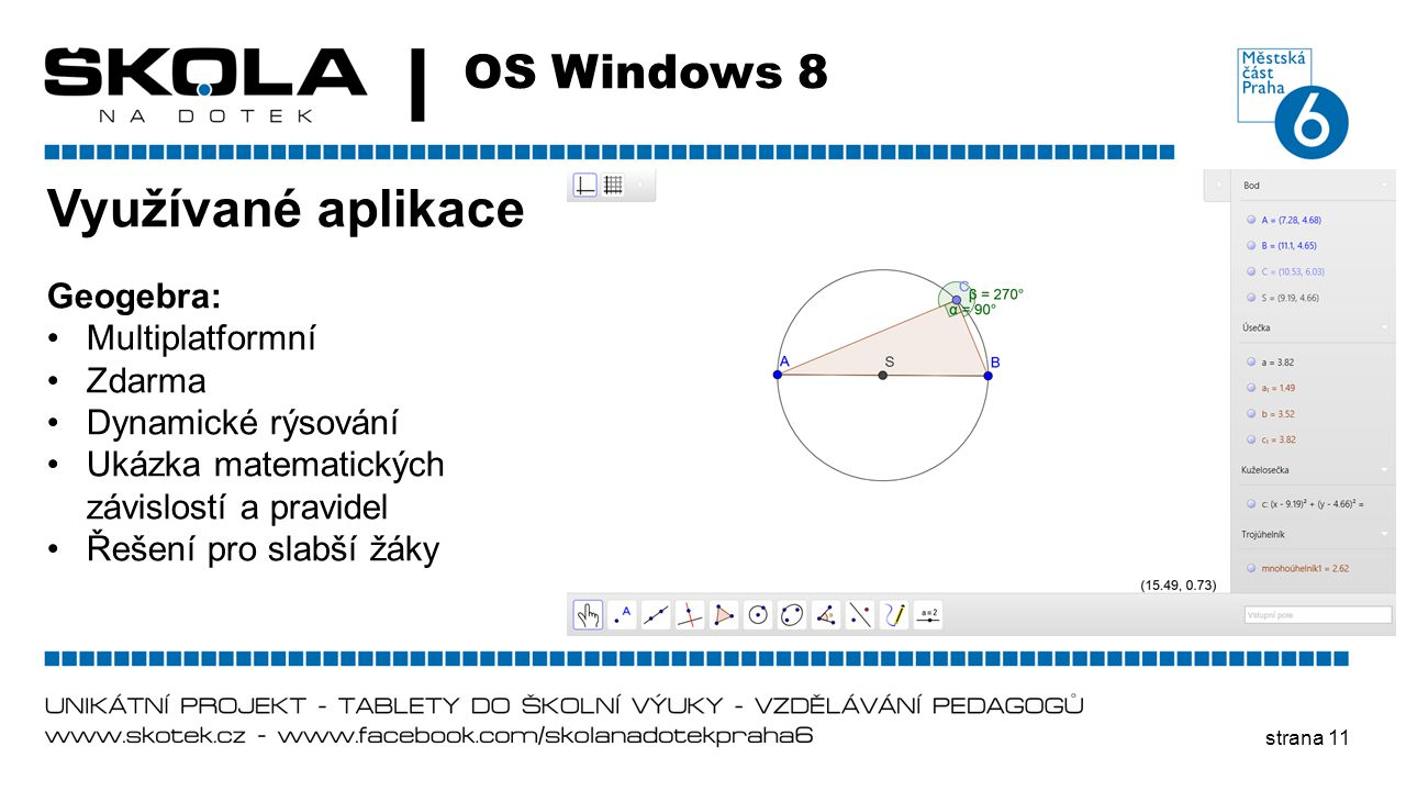 Využívané aplikace OS Windows 8 Geogebra: Multiplatformní Zdarma