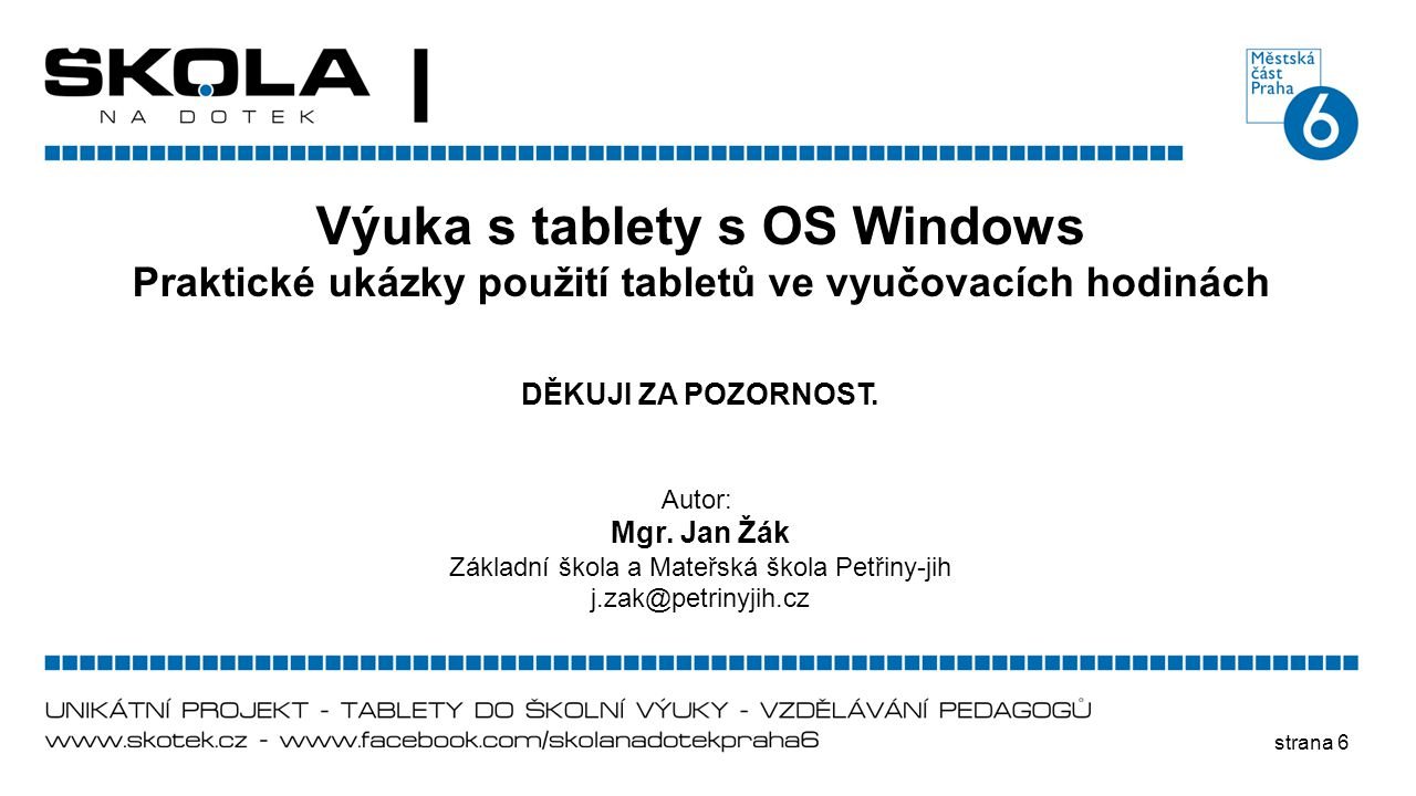 Výuka s tablety s OS Windows