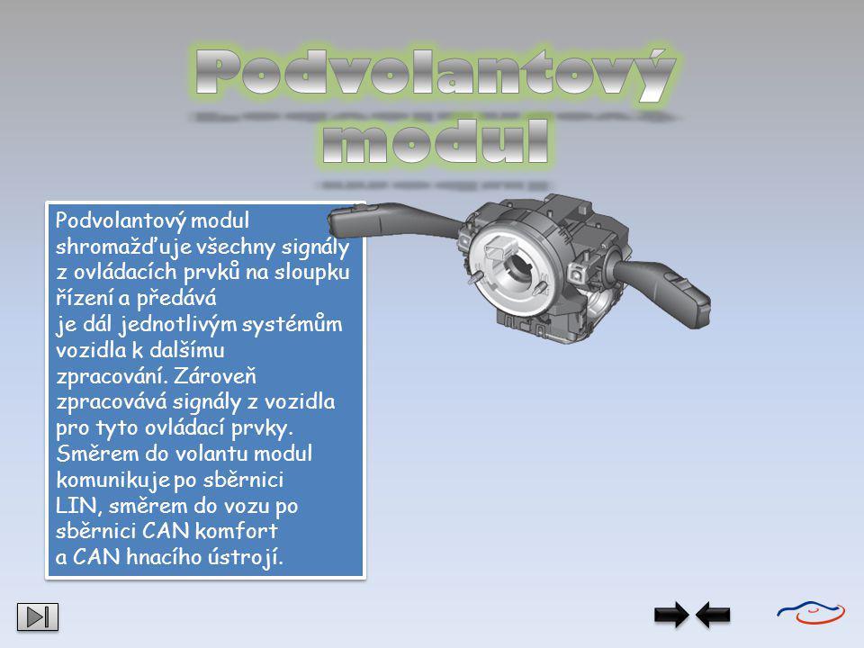 Podvolantový modul Podvolantový modul shromažďuje všechny signály